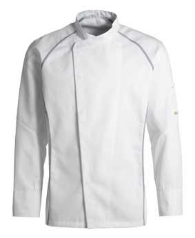 Kentaur Kochjacke / Servicejacke langarm Unisex weiß mit grau