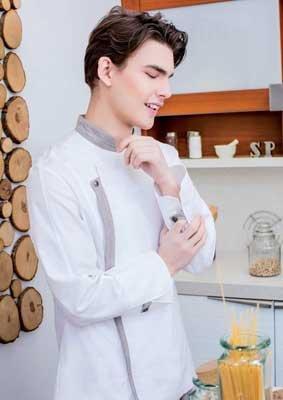 Unisex Kochjacke asymmetrisch mit Kontrastblenden 100% Baumwolle