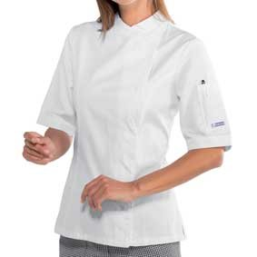 Damen Kochjacke kurzarm verd. Knopfleiste weiß 057700M