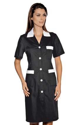 Hausmädchen-Kleid POSITANO 1/4 Arm schwarz/weiß 008901