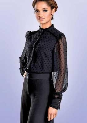 Bluse mit Viktorianischem Kragen langarm