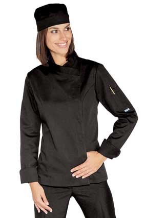Damen Kochjacke langarm verd. Knopfleiste schwarz 057701