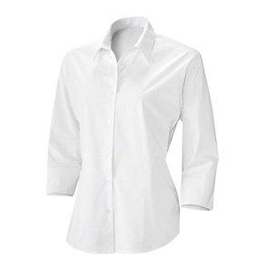 Baumwoll-Stretch Bluse 3/4 Arm weiß