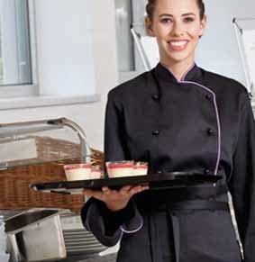 Damen Kochjacke langarm schwarz mit Kontrastpaspel
