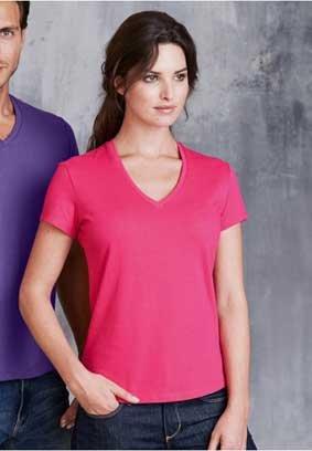 Damen T-Shirt kurzarm V-Ausschnitt