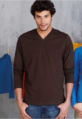 Herren T-Shirt langarm V-Ausschnitt