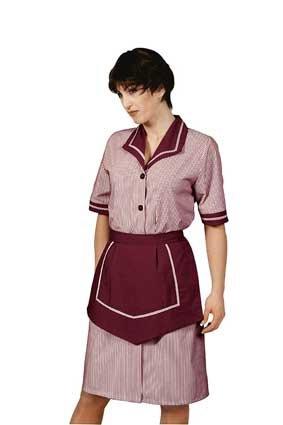 Hausmädchen-Kleid AMALFI 1/4 Arm bordeaux/weiß