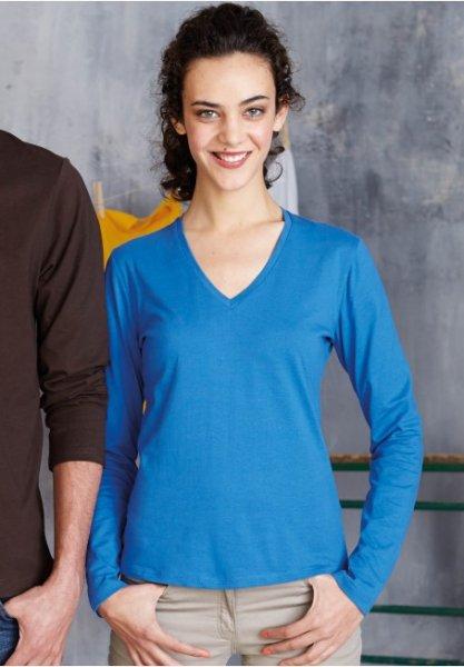 Damen T-Shirt langarm V-Ausschnitt