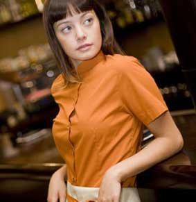 Bluse mit Mandarin Kragen kurzarm