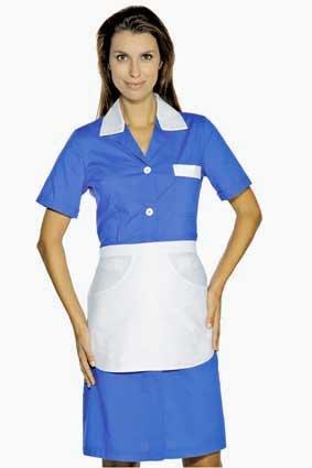 Hausmädchen-Kleid POSITANO 1/4 Arm chinablau 008906G