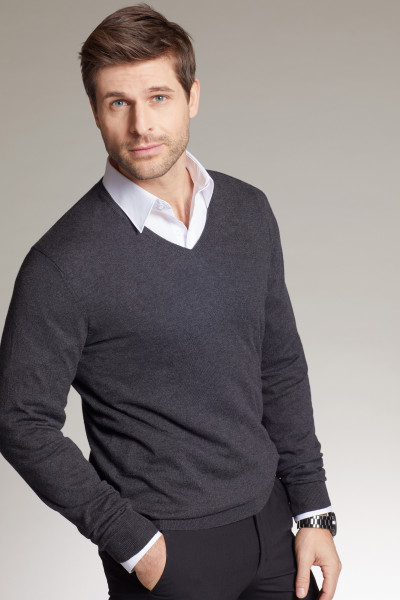 Herren V-Neck Pullover mit Seide/Kaschmir