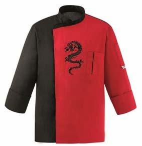Asia Kochjacke Japan Stil Dragon schwarz/rot