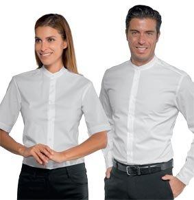 Unisex Stretch-Hemd DETROIT mit Mandarin-Kragen 1/4 Arm weiß