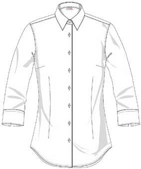 Bluse FRANKFURT 3/4 Arm, Slim fit, tailliert