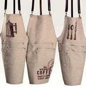 Latzschürze Natur mit Ösen Motiv Coffee