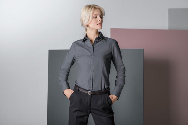Bluse Stretch farbig langarm Regular Fit