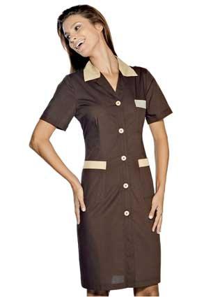 Hausmädchen-Kleid POSITANO 1/4 Arm cacao/biscotto 008917G