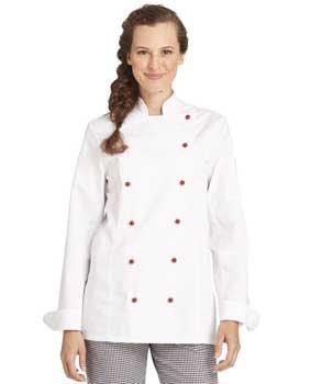Kochjacke für Damen tailliert weiß langarm