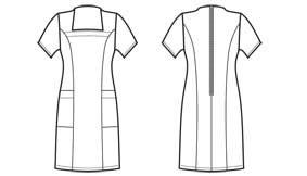 Hausmädchen-Kleid schwarz 1/2 Arm Stretch incl. Vorbinder