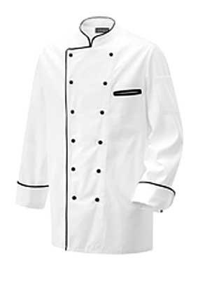 Herren Kochjacke langarm weiß mit Kontrastpaspel schwarz