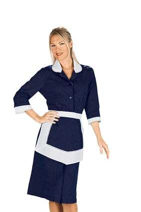Hausmädchen-Kleid ANTILLE 3/4 Arm schwarz/weiss Nadelstreifen