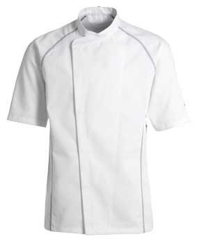 Kentaur Kochjacke / Servicejacke kurzarm Unisex weiß mit grau