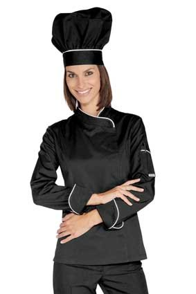 Damen Kochjacke langarm verd. Knopfleiste schwarz/weiß 057721