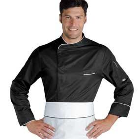 Herren Kochjacke BILBAO Microfaser langarm schwarz/weiß 059331