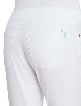 3/4 Damen BI-Stretch-Hose mit Strickbund und Kordeltunnelzug weiss