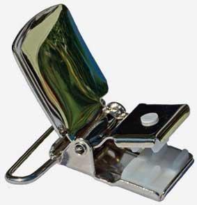 Hosenträger Clip mit Metall-Rückenteil, 36 mm breit gestreift