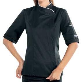 Damen Kochjacke kurzarm verd. Knopfleiste schwarz/weiß 057721M