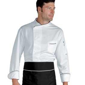 Herren Kochjacke BILBAO Microfaser langarm weiß/schwarz 059330