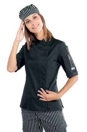 Damen Kochjacke kurzarm verd. Knopfleiste schwarz 057701M