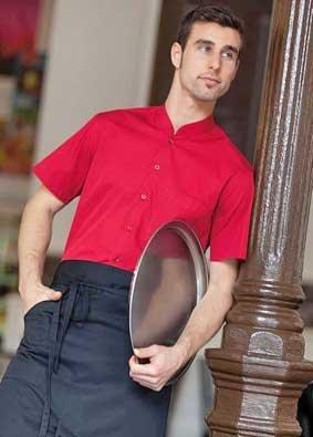 Service und Bar - Hemd mit Mandarin Kragen kurzarm