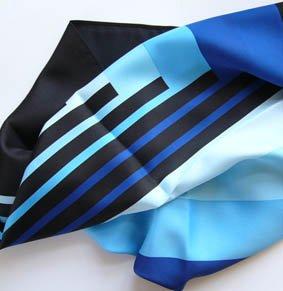 Tuch PES 70x70 cm Streifen Blautöne / navy