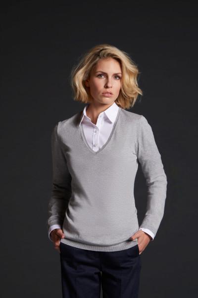 Damen V-Neck Pullover mit Seide/Kaschmir