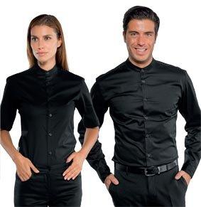 Unisex Stretch-Hemd DETROIT mit Mandarin-Kragen 1/4 Arm schwarz