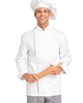 Unisex Kochjacke Baumwolle weiß langarm Lang-Größen