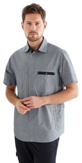 Unisex Hemd kurzarm für Pflege und Housekeeping Chambray grau