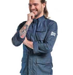 Kochjacke / Servicejacke PARKA blue denim Stretch