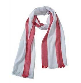 Sportlich eleganter Schal weiß-rot ca.180x60 cm