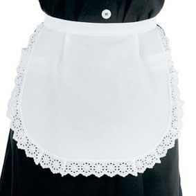 Servierschürze weiß mit Spitze ohne Taschen 083200