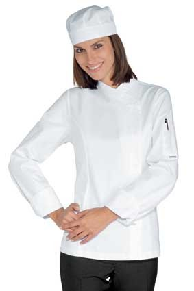 Damen Kochjacke langarm verd. Knopfleiste weiß 057700
