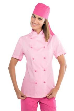 Damen Kochjacke kurzarm extra leicht rosa/fuchsia