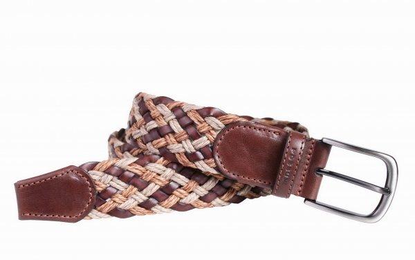 Flechtgürtel elastisch hochwertig aus Leder - mehrfarbig