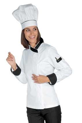 Damen Kochjacke langarm verd. Knopfleiste weiß/schwarz 057711