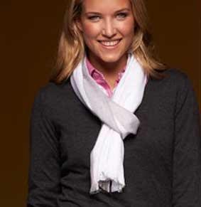 Sportlich eleganter Schal weiß-grau ca.180x60 cm 100% Viskose