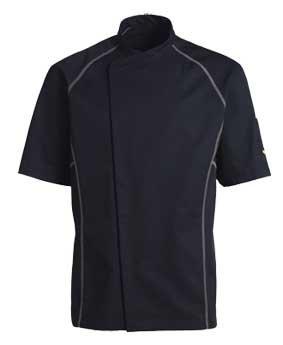 Kentaur Kochjacke / Servicejacke kurzarm Unisex schwarz mit grau