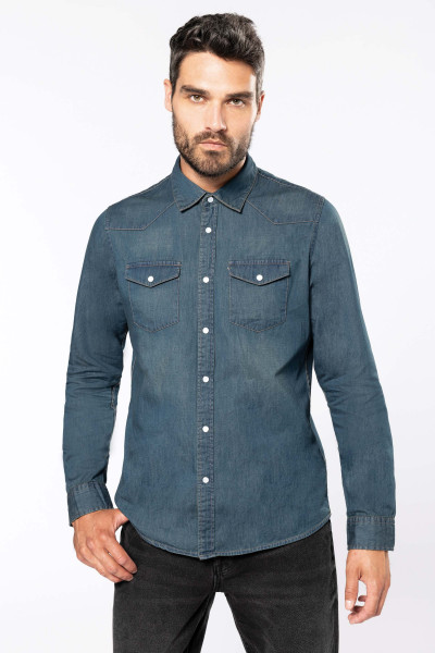 Herren washed Denim Hemd langarm K519
