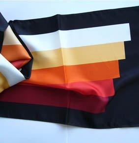 Schal PES 140x30 cm Streifen Rost-Rot-Beigetöne / schwarz